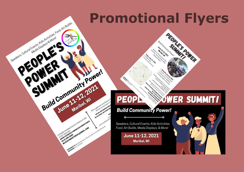 Graphic of promotional flyers.